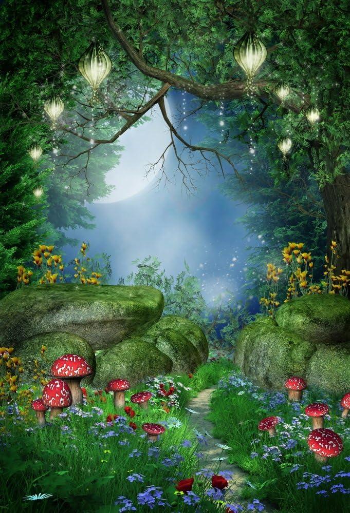 Baocicco 5x7ft Fairy Tale Forest Backdrop Fairy Tale Backdrop Photography Background Cartoon Dreamlike Forest Backdrop Flowers Tree Vine Spring Garden Backdrops Baby Girls Portraits Photo Studio Props