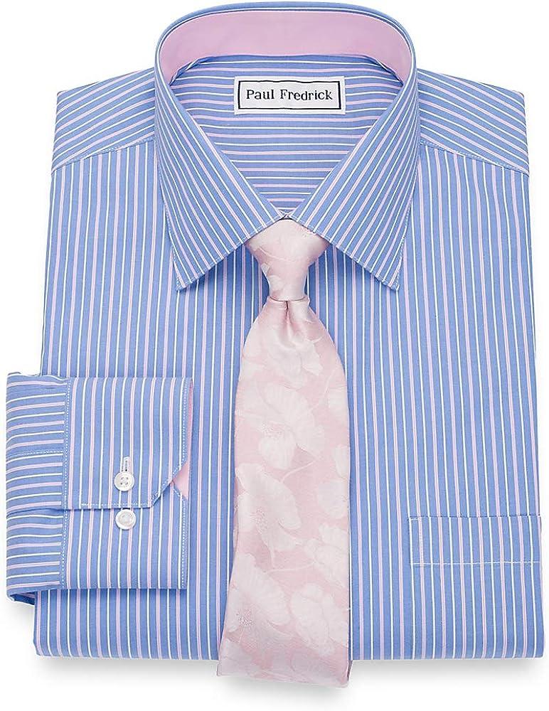 Paul Fredrick Mens Tailored Fit Non-Iron Cotton Stripe Button Down Dress Shirt