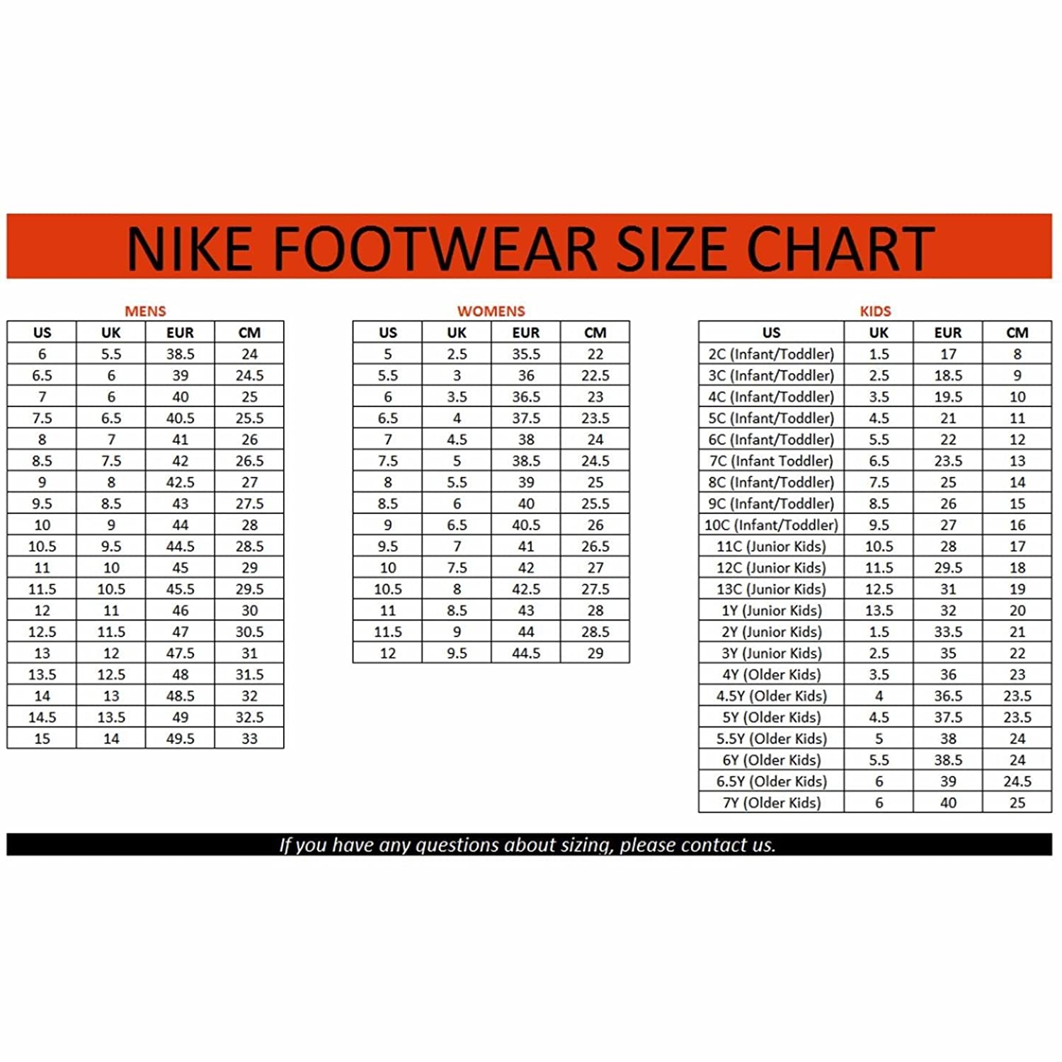 vans shoe size to nike
