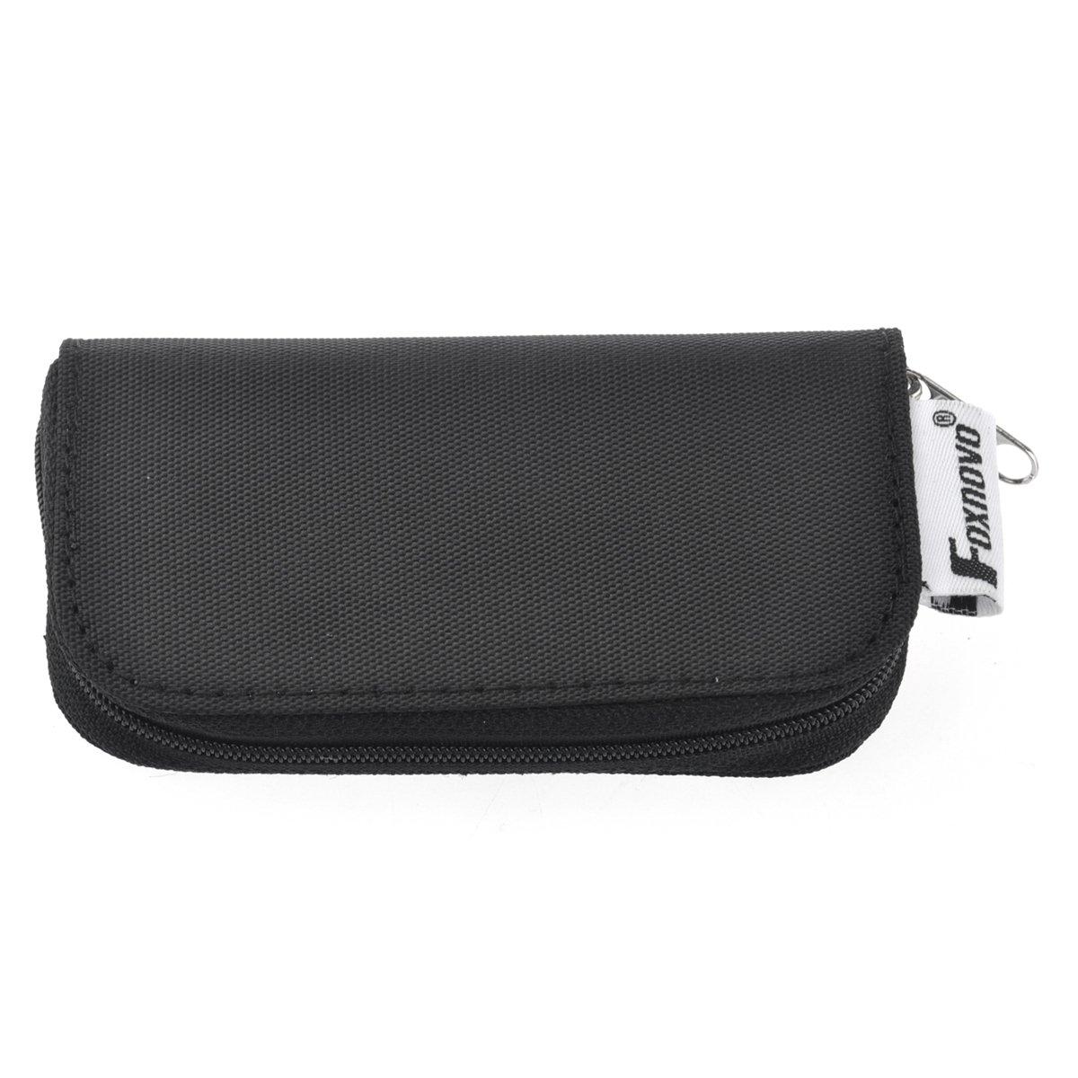 Foxnovo Portable 22 Slots SD SDHC MMC CF Micro SD Memory Card Holder Pouch Case Zippered Storage Bag Protector