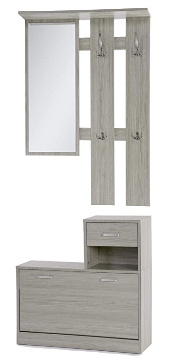 ts-ideen Set di 3 pezzi Guardaroba da parete Specchio Scarpiera Armadio per  le scarpe con cassetti e scaffale con effetto legno di quercia