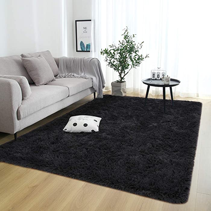 Rostyle Super Soft Fluffy Nursery Rug for Kids Teens Room Comfy Cute Floor Carpets Kids Playing Mat for Bedroom Living Room Home Decorate Area Rugs, 6 ft x 9 ft, Black