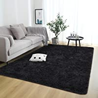 Rostyle Super Soft Fluffy Nursery Rug for Kids Teens Room Comfy Cute Floor Carpets Kids Playing Mat for Bedroom Living Room Home Decorate Area Rugs, 3 ft x 5 ft, Black