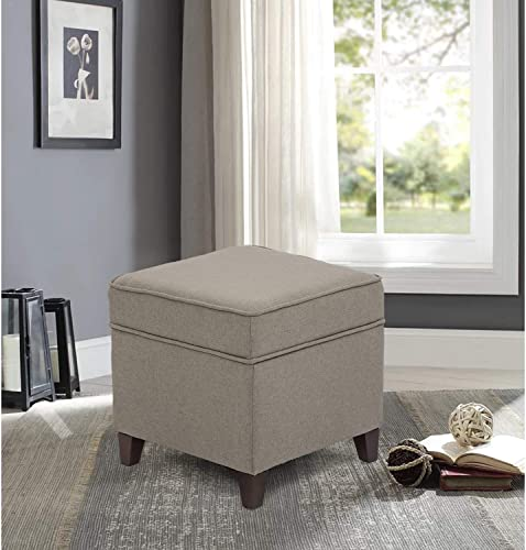 Edeco Square Fabric Storage Ottoman Foot Stool Comfy Seating with Thick Sponge, Grey