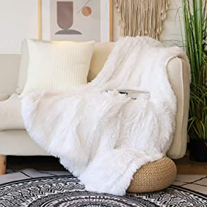 "Decorative Extra Soft Faux Fur Throw Blanket 50"" x 60"",Solid Reversible Fuzzy Lightweight Long Hair Shaggy Blanket,Fluffy Cozy Plush Fleece Microfiber Fur Blanket for Couch Sofa Bed,Pure White"