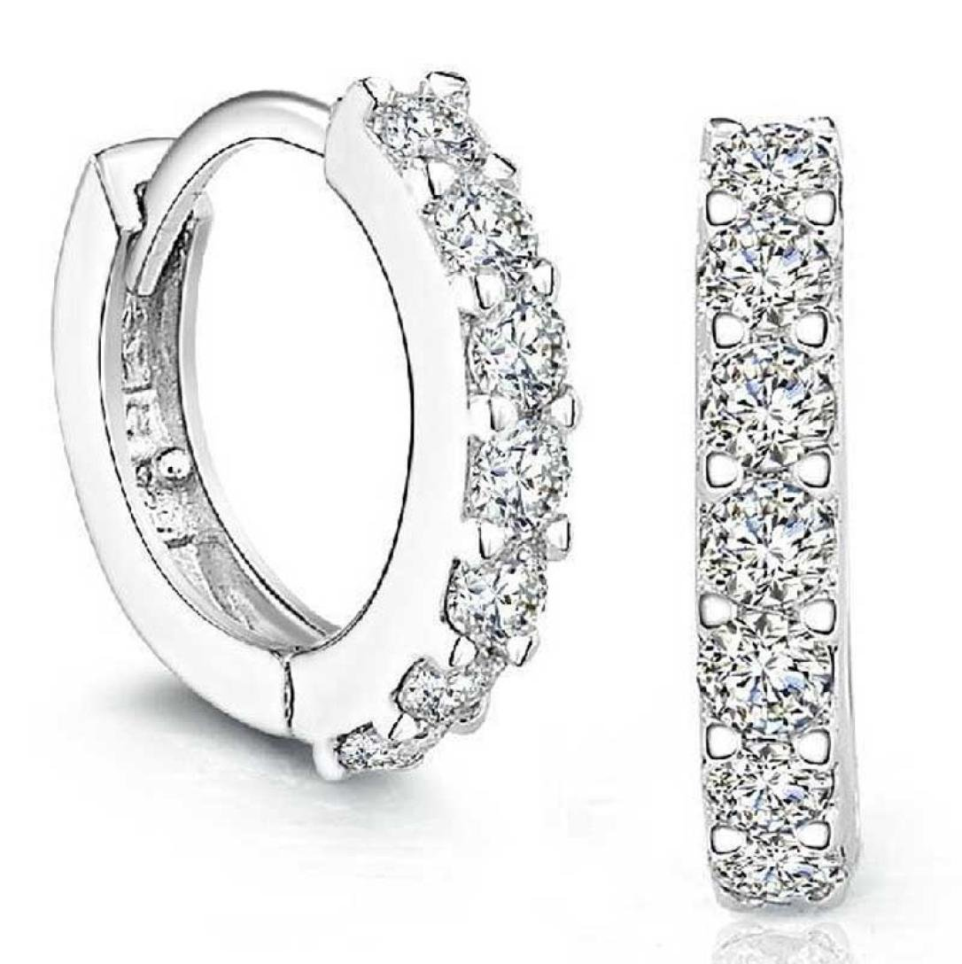 Bestpriceam Sterling Silver Rhinestones Hoop Diamond Stud Earrings for Women