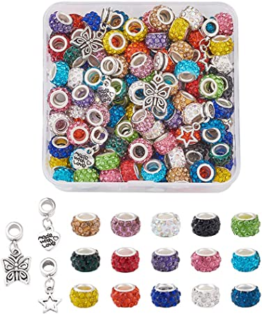 5pcs Center Drilled Crystal Beads Pave Rondelle Craft Charm Jewelry Makings