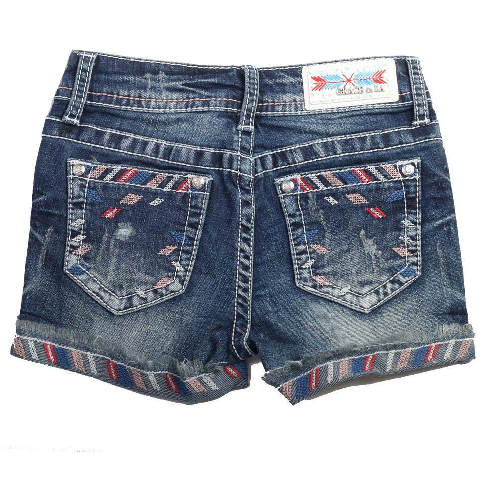 GH-51252 Girls Easy Fit Line-Detail Girls Denim Shorts
