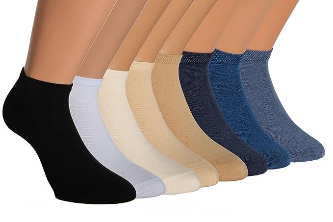 Vitasox Calcetines tobilleros de señora 15022 de algodón sin costura unicolor, invisibles, lote de