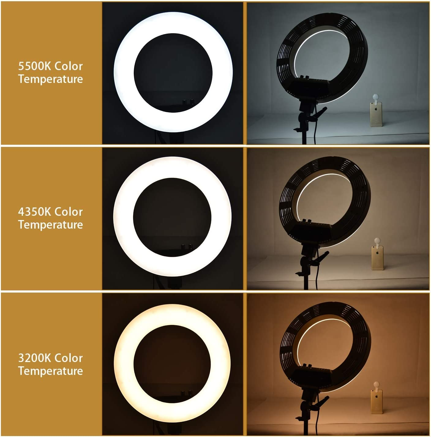 HULYZLB LED Ring LightCamera Photo Video Lightning Kit,18in Outer 80W 5800K Dimmable LED Ring Light with Stand for YouTube//Vine Self-Portrait