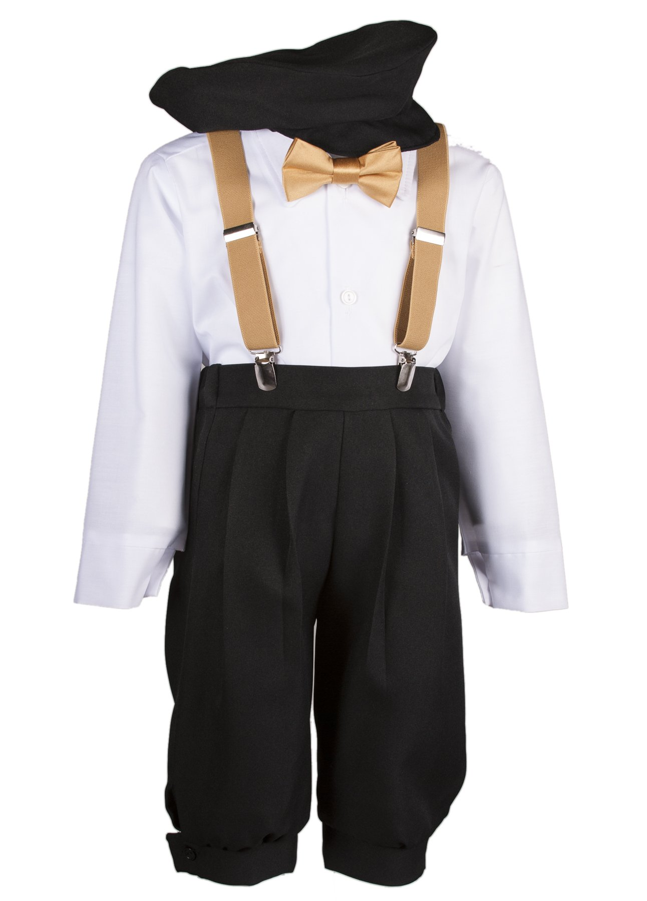 Boys Black Knickers Set Pageboy Cap Antique Gold Suspenders & Bow Tie (4 Boys)