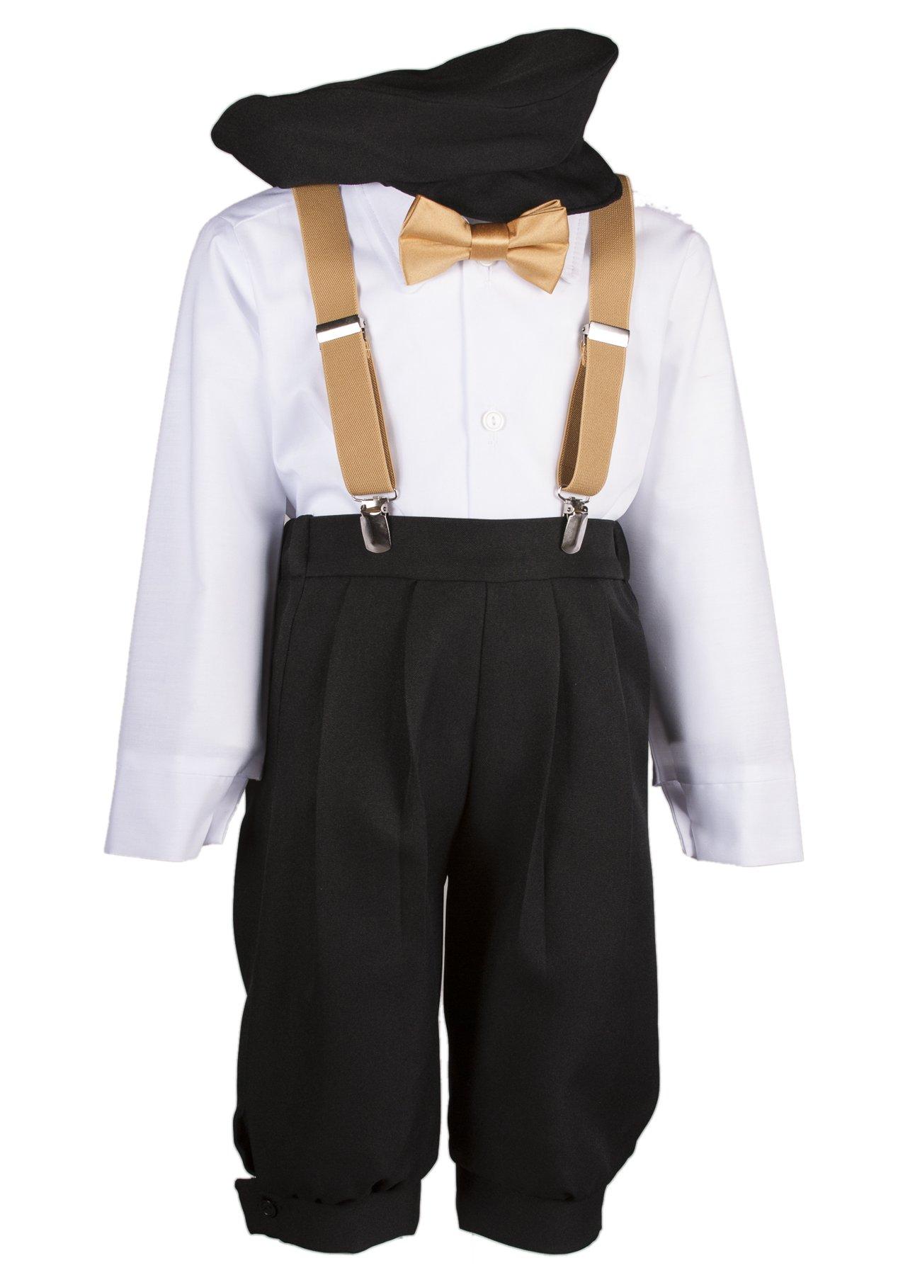 Boys Black Knickers Set Pageboy Cap Antique Gold Suspenders & Bow Tie (5 Boys)