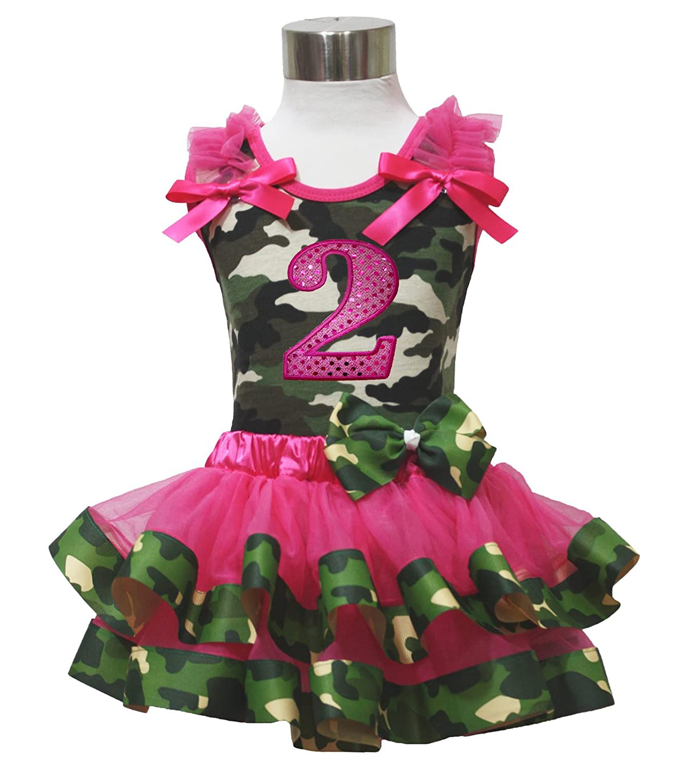 Birthday 2nd Camouflage Top Shirt Hot Pink Satin Trim Girl Skirt Set Nb-8y PO493