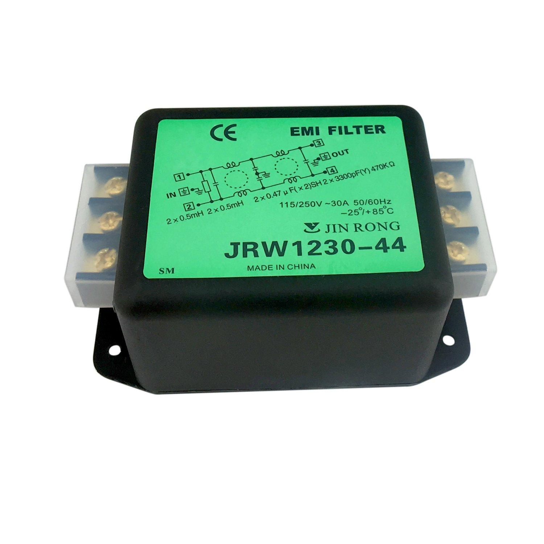 Noise Suppressor Power EMI Filter Termianl Single-Phase Line-Conditioner JREle AC 115/250V 30A JRW1230-44