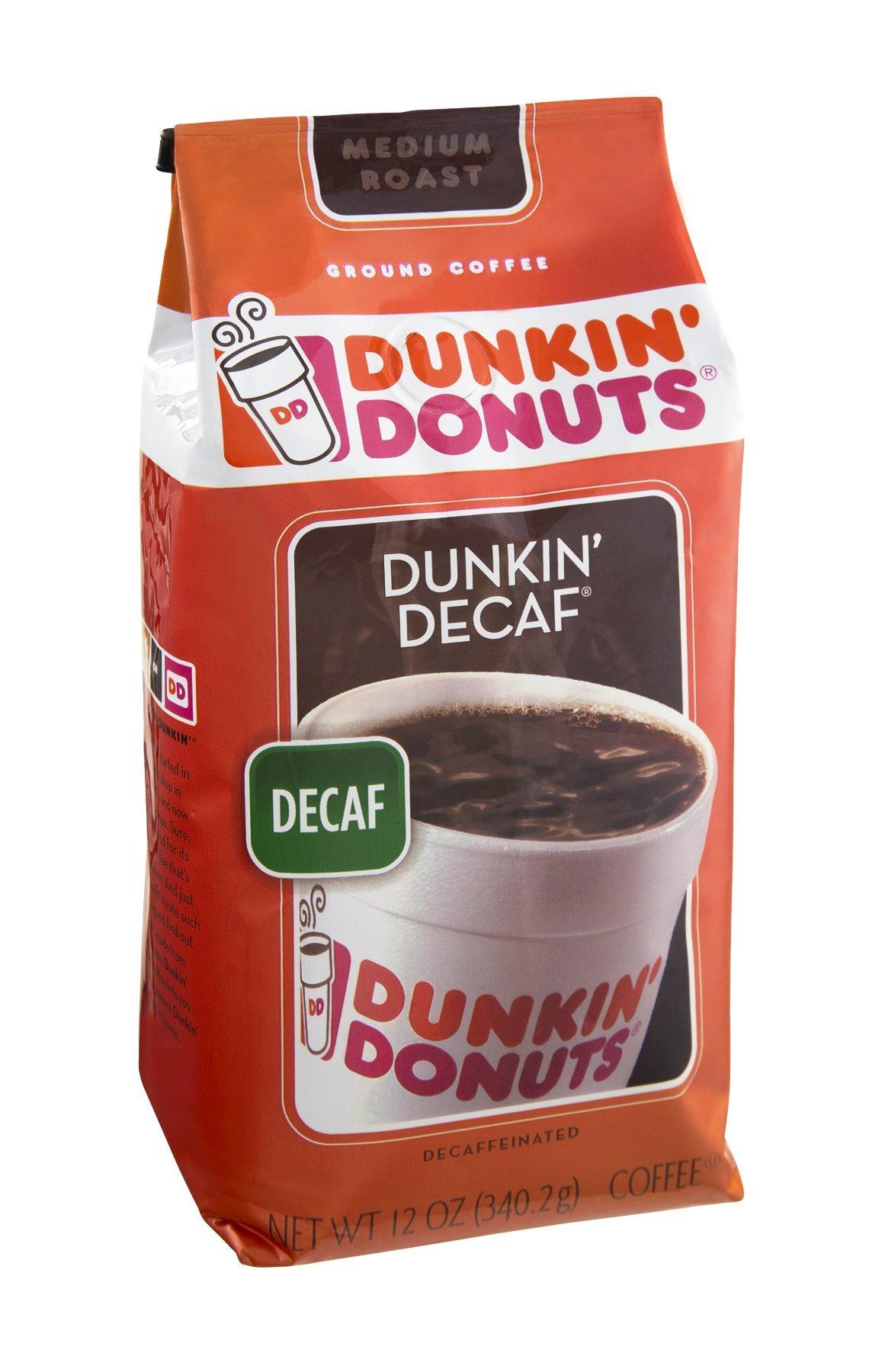 Dunkin' Donuts Dunkin' Decaf Decaffeinated Medium Roast Ground Coffee 12 OZ (Pack of 12)