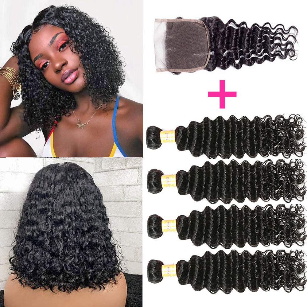 Brazilian Deep Wave Bundles With Closure 100% Virgin Human Hair 4 Bundles With Closure Free Part Unprocessed Short Bob Curly Hair Bundles With Closure Natural Black Color (10 10 10 10 with 8) by JQM