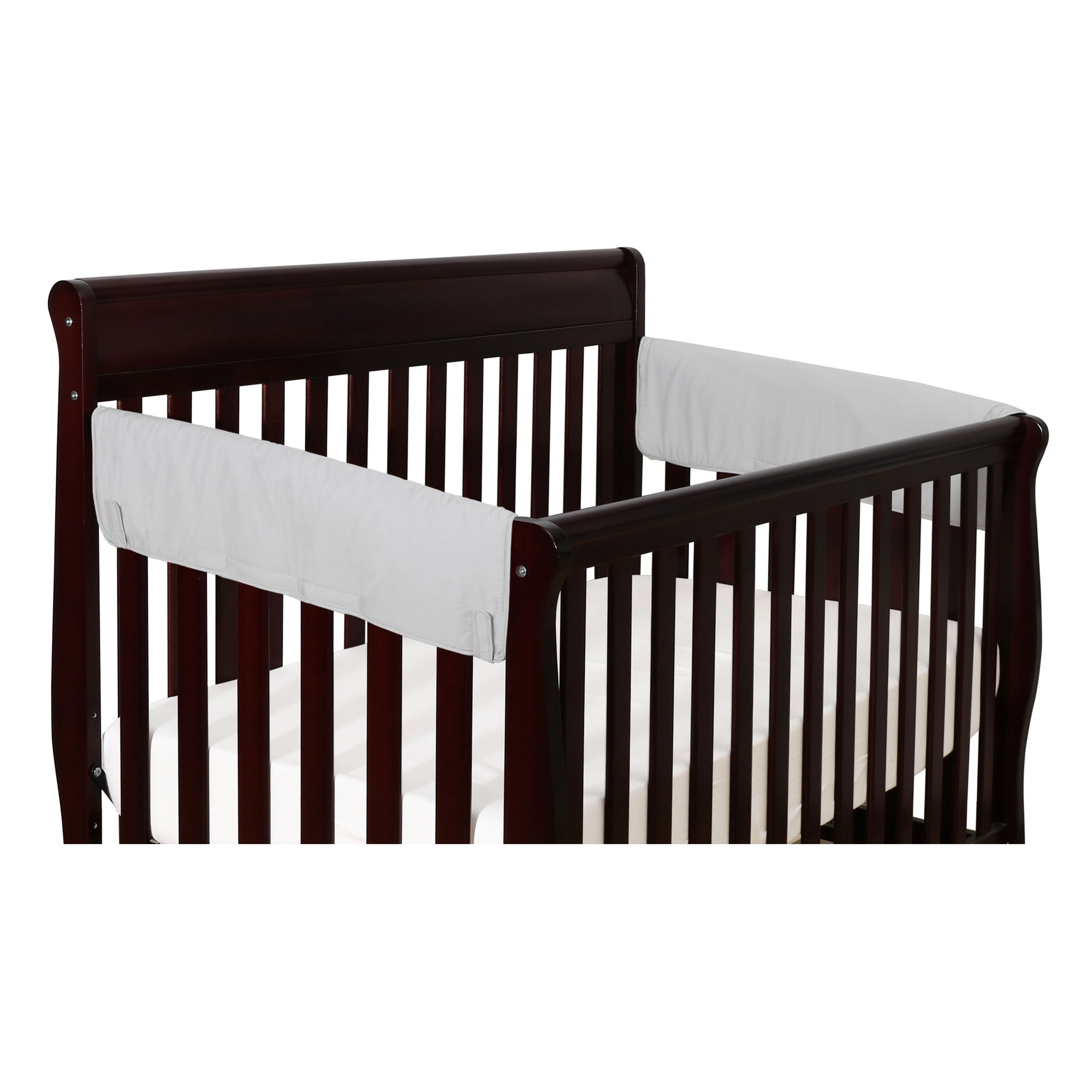 Solid Grey 2-Pack Side Crib Rail Guard Padded Protectors - 100% Cotton Fabrics by The Peanut Shell