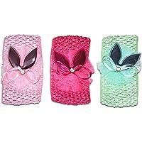 Chipbeys Pack of 3 Headband, Bandana Bunny Hairband for Baby Girls sea Green, Pink and Magenta