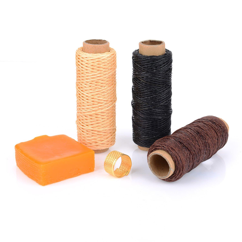 Kit de Herramientas de Coser a Mano Herramientas de Costura de Cuero Punz/ón Dedal Hilo Encerado 15 Piezas