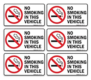 SIGO SIGNS No Smoking in This Vehicle Sign Sticker, 3.5x2 Inches, (Pack of 6) 4 Mil Vinyl Self Adhesive Decal, Weatherproof and UV Protected, Made in USA