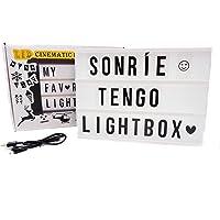 Caja de luz A4 con 215 tarjetas. Con ACENTOS. 10 láminas por fila. Cartel luminoso vintage para decorar habitacion…
