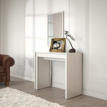 Group Design Konsolentisch Ausziehbar Made In Italy Regenbogen Lack Weiß  Hochglanz Moderne 14 Sitzer 90 Cm