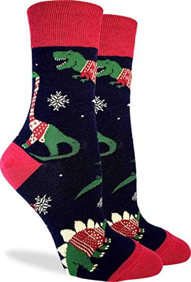 d37214ee54ce3 Amazon.com: Good Luck Sock Women's Christmas Sweater Dinosaur Socks - Blue,  Shoe Size 5-9: Clothing