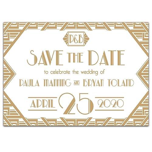 amazon com art deco save the date card wedding invitation handmade