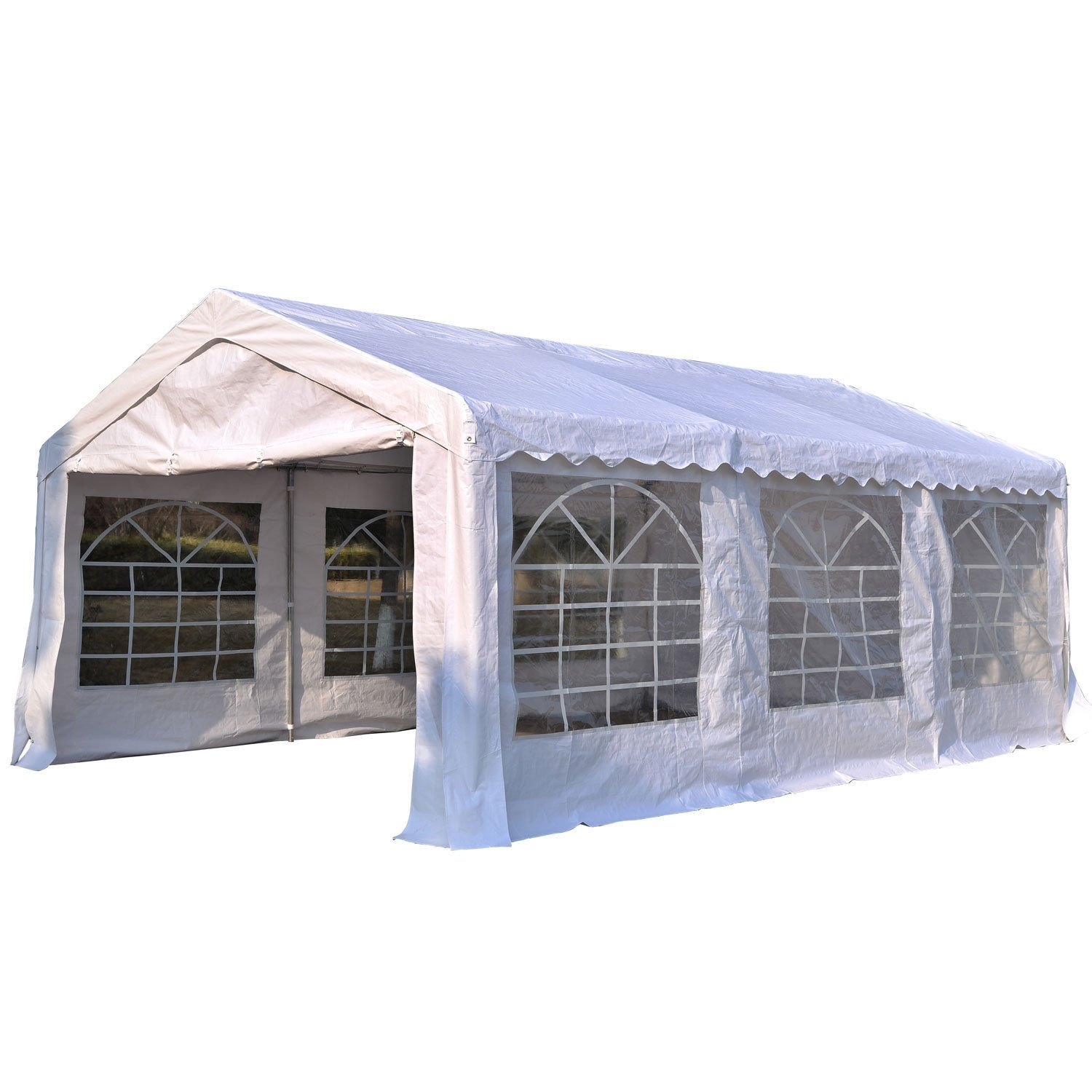 Outsunny Garden Gazebo Marquee Party Tent Wedding Portable Garage Carport shelter Car Canopy Outdoor Heavy Duty Steel Frame Waterproof Rot Resistant (4m x 4m) Sold by MHSTAR UK01-08070331