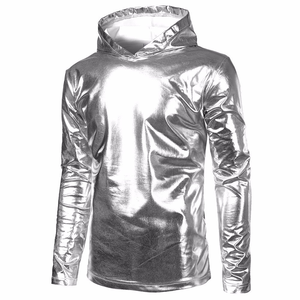 AMOFINY Mens Tops Patent Leather Hip Hop Pollover Hoodie Hipster Top Shirt Sweatshirts Jacket