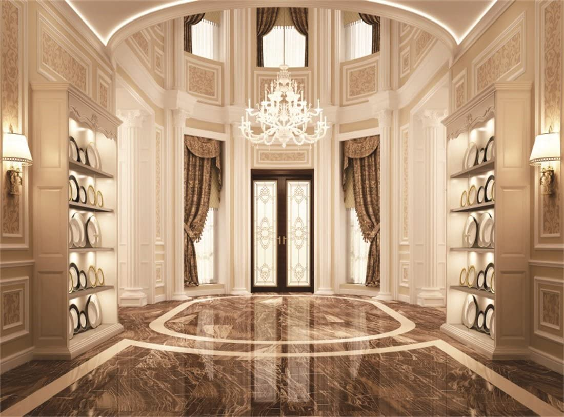 Leowefowa 9X9FT Luxurious Palace Backdrop Crystal Chandelier Retro Curtain Backdrops for Photography Palace Shabby Marble Floor Interior Vinyl Photo Background Girls Lover Portraits Studio Props