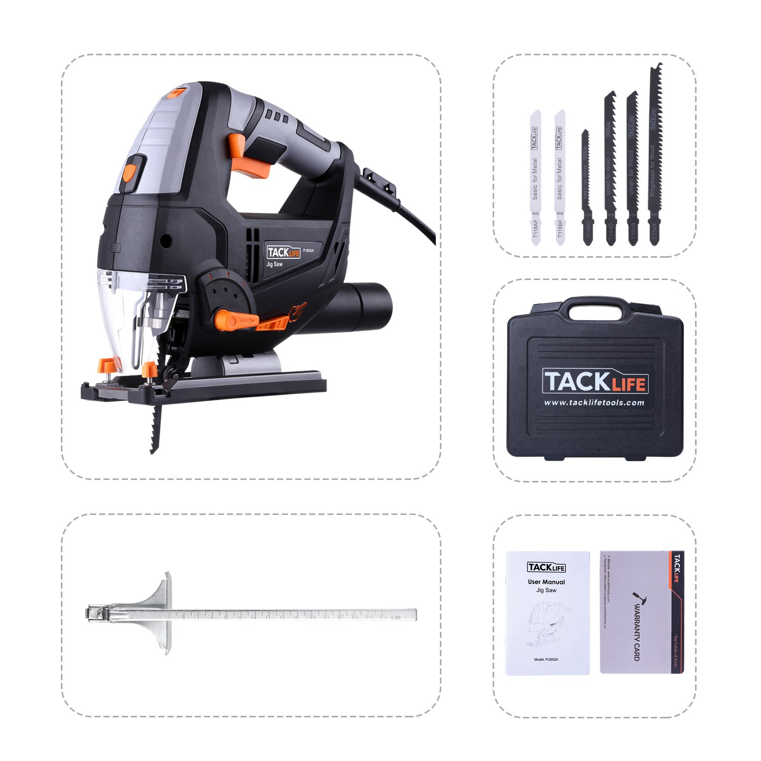 Tacklife 67 amp laser jig saw with led light variable speed tacklife 67 amp laser jig saw with led light variable speed includes carrying case 6pcs jigsaw blades metal guide ruler dust exhaust pipe allen wrench greentooth Gallery