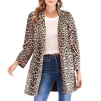SMILEQ Top Fashion - Abrigo de Invierno para Mujer, diseño de Leopardo, Manga Larga, abrigado: Amazon.es: Deportes y aire libre