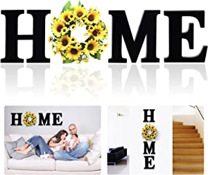 12 Inch Wood Home Letters with Sunflower Wreath for O, Wall Hanging Large Wooden Home Sign, Rustic Wall Decor for Living Room Kitchen Entryway, House Decorative Artificial Sunflower Wall Decoration