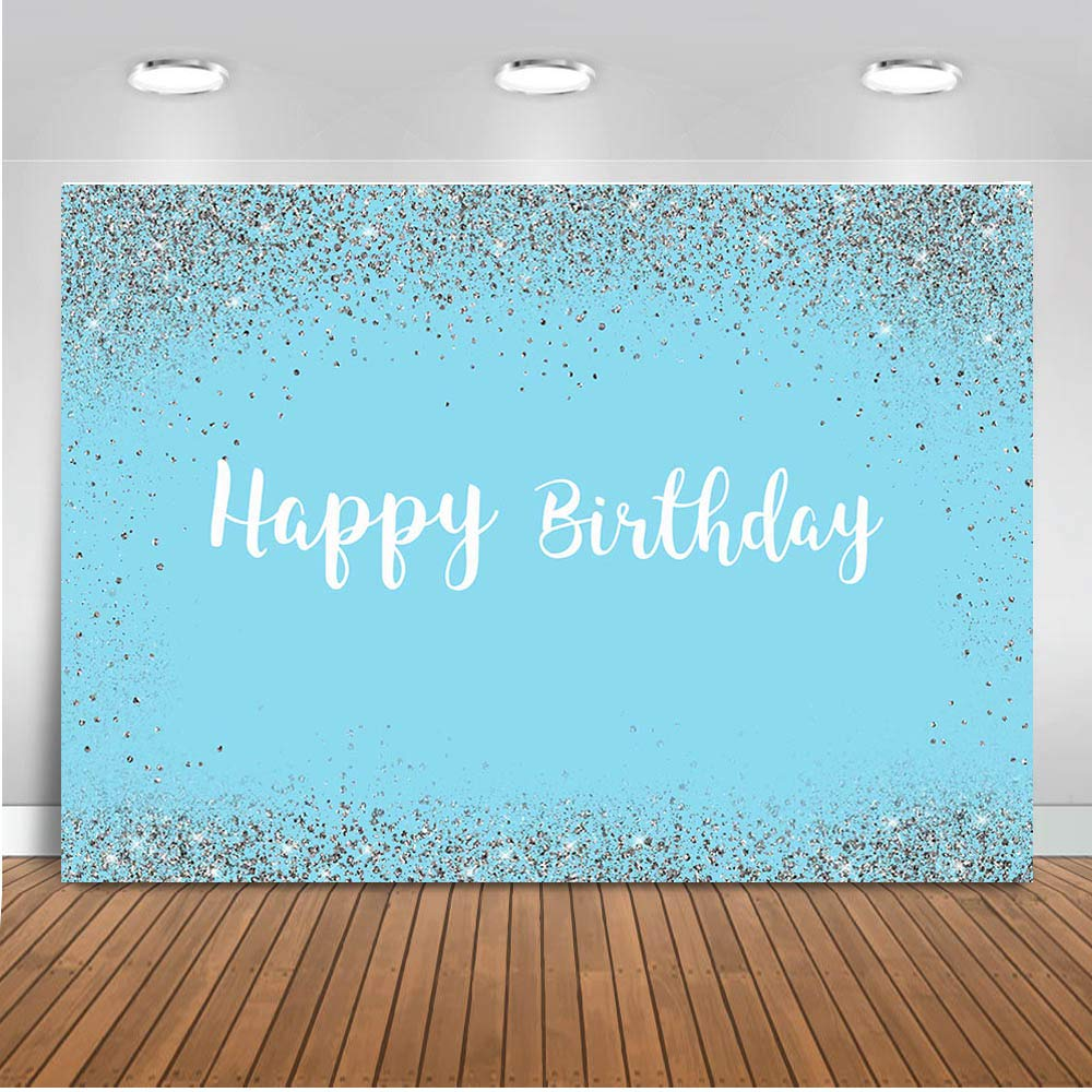 Mocsicka Happy Birthday Backdrop 7x5ft Sky Blue and Silver Woman's Birthday Photography Background Sweet 16th Party Decorations Banner Photo Backdrops