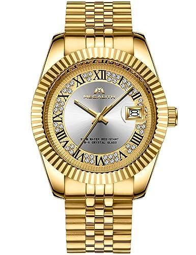 b6af57f38 Mens Gold Stainless Steel Watches Men Luxury 30M Waterproof Calendar Date  Rhinestone Designer Wrist Watch Gents
