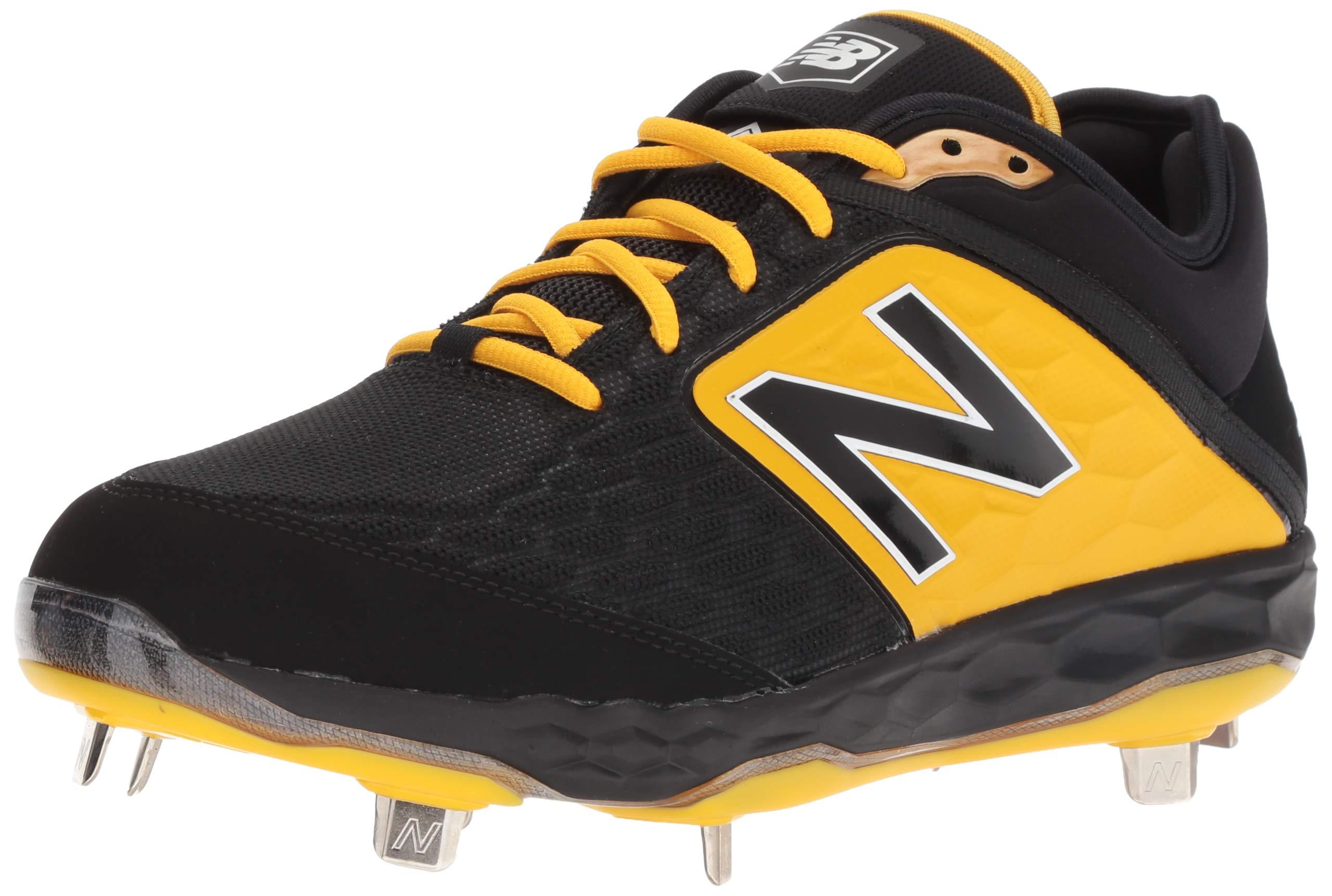 New Balance Men's 3000v4 Baseball Shoe, Black/Yellow, 5 D US