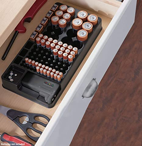 Soporte organizador de almacenamiento de batería con comprobador – Caja de almacenamiento de batería con soporte para comprobador de batería para aaa aa c d 9 V digital pequeñas baterías surtidas –