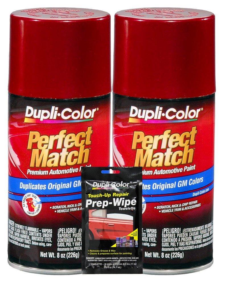 Dupli-Color Medium Garnet Red Metallic Exact-Match Automotive Paint for GM Vehicles - 8 oz, Bundles with Prep Wipe (3 Items)