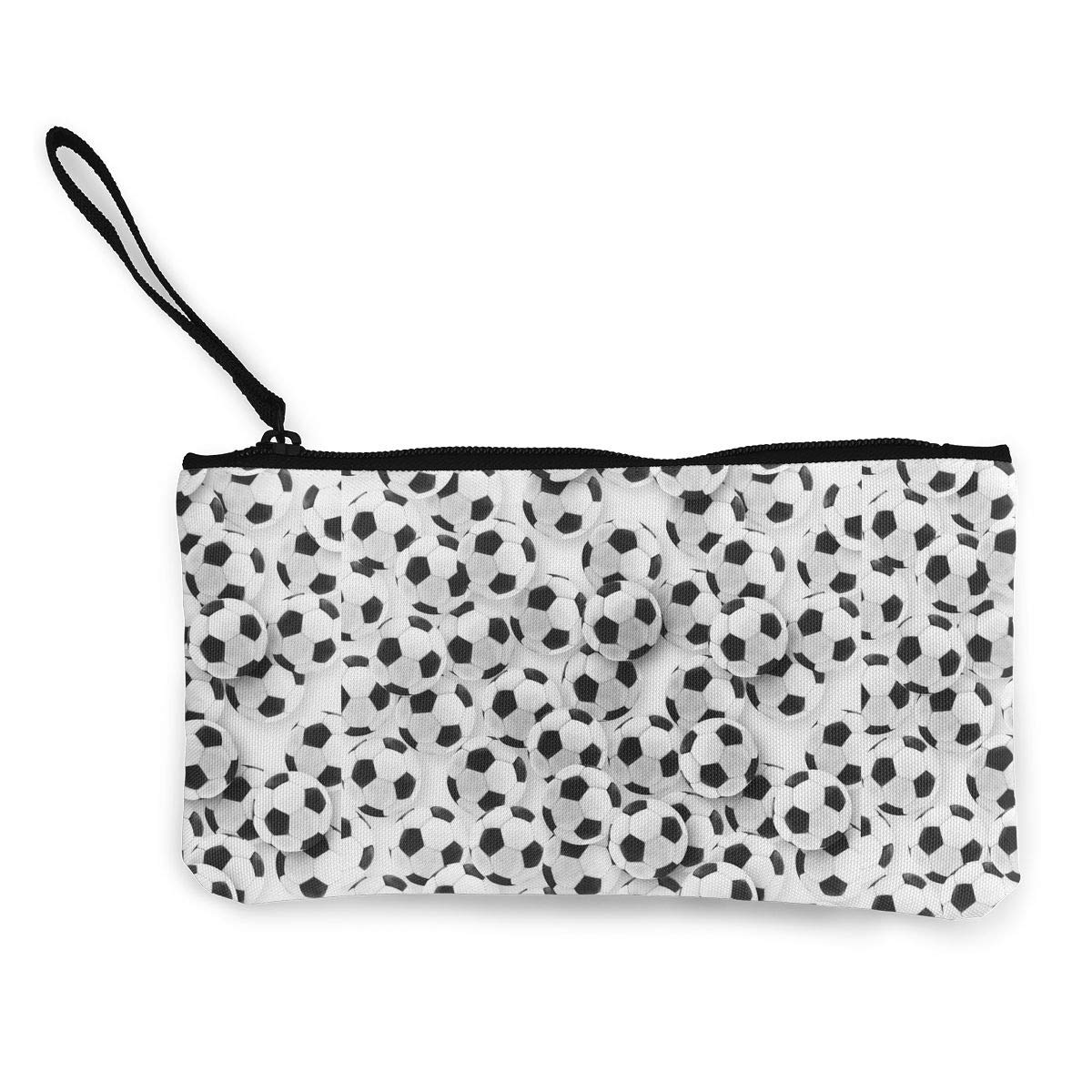 Zipper Small Purse Wallets Girls Canvas Coin Case Cellphone Clutch Purse With Wrist Strap Many Soccer Balls Pattern