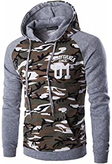 Jeansian Hombres Casual Camuflaje Printing Hoodie Hooded Deportiva Sudaderas con Capucha Moda Sports Tops Outwear Jacket