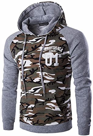 Jeansian Hombres Casual Camuflaje Printing Hoodie Hooded Deportiva Sudaderas con Capucha Moda Sports Tops Outwear Jacket D728: Amazon.es: Ropa y accesorios
