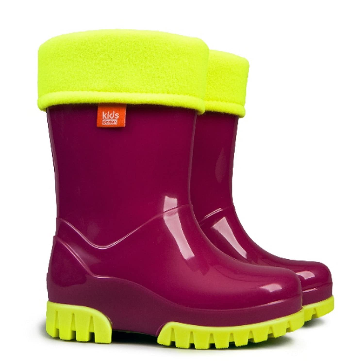 Kids Boys Girls Wellies Wellington Boots Rainy Snow Fluo Neon Thermal Liner