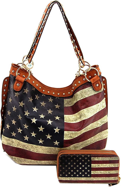 US Flag Handbag Wallet Set...