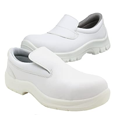 75301dcbb49 POWCOG Hygiene Safety Slip On Shoe with Steel Toe Cap. Water Resistant and  Coated in Anti-Bacterial Microfibre. Anti-Slip & Anti-Static Sole.