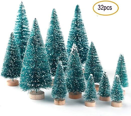 Fashionclubs Mini árbol de Navidad de sisal, 24 Piezas de Mini ...