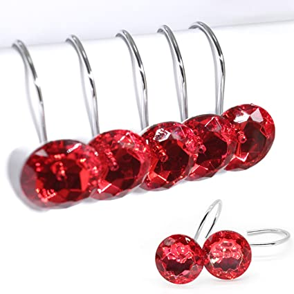 BEAVO Acrylic Fashion Decorative Home Rolling Red Shower Curtain Hooks Rhinestones Bathroom Bath Baby Room Bedroom