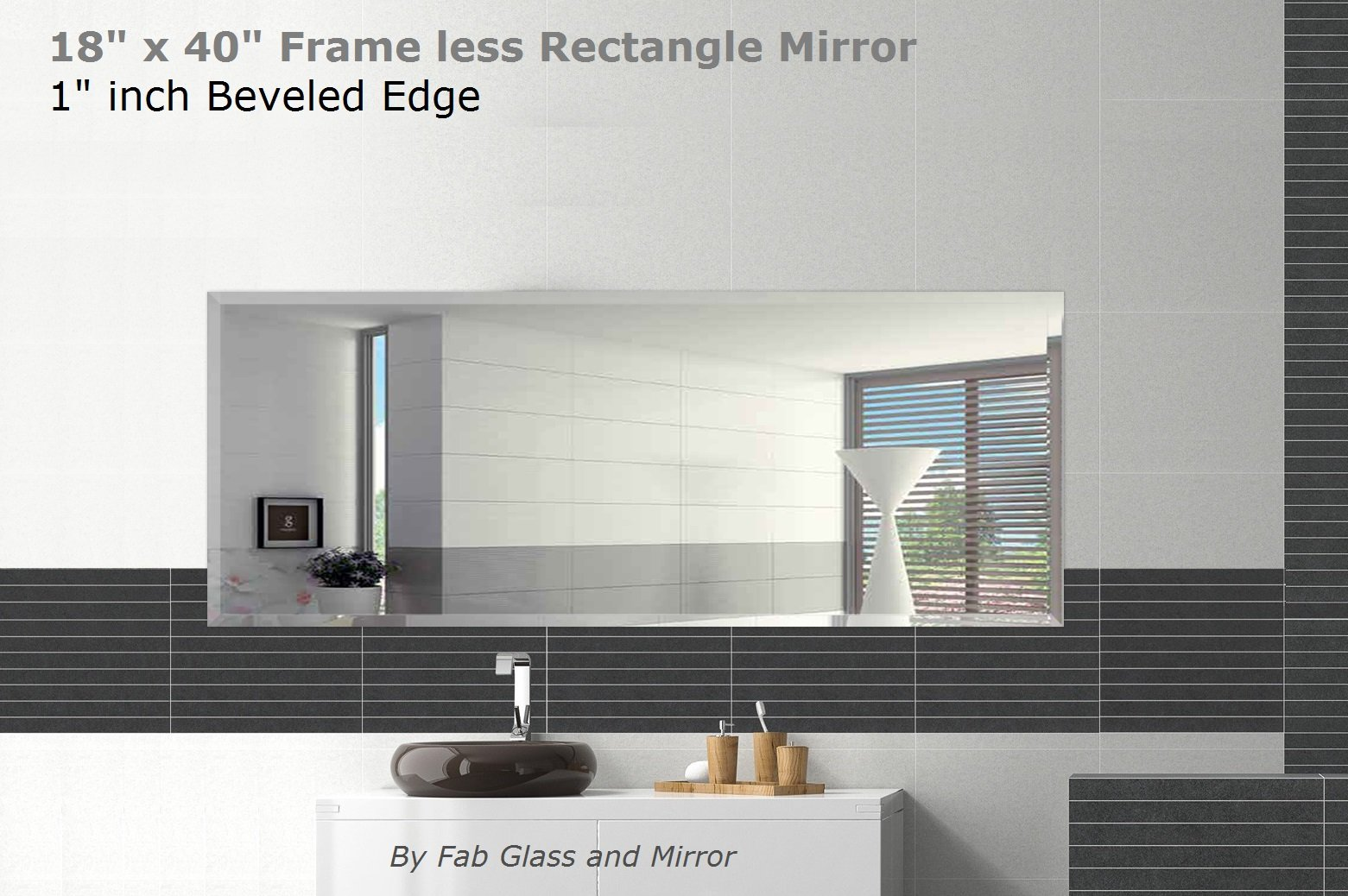 Fab Glass and Mirror 18'' x 40'' Inch Rectangle Beveled Polished Frameless Wall Mirror with Hooks