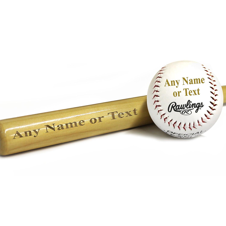 Custom Engraved Mini Baseball Bat and Ball Combo – Ring Bearer Groomsmen Gift – Monogrammed Personalized Free