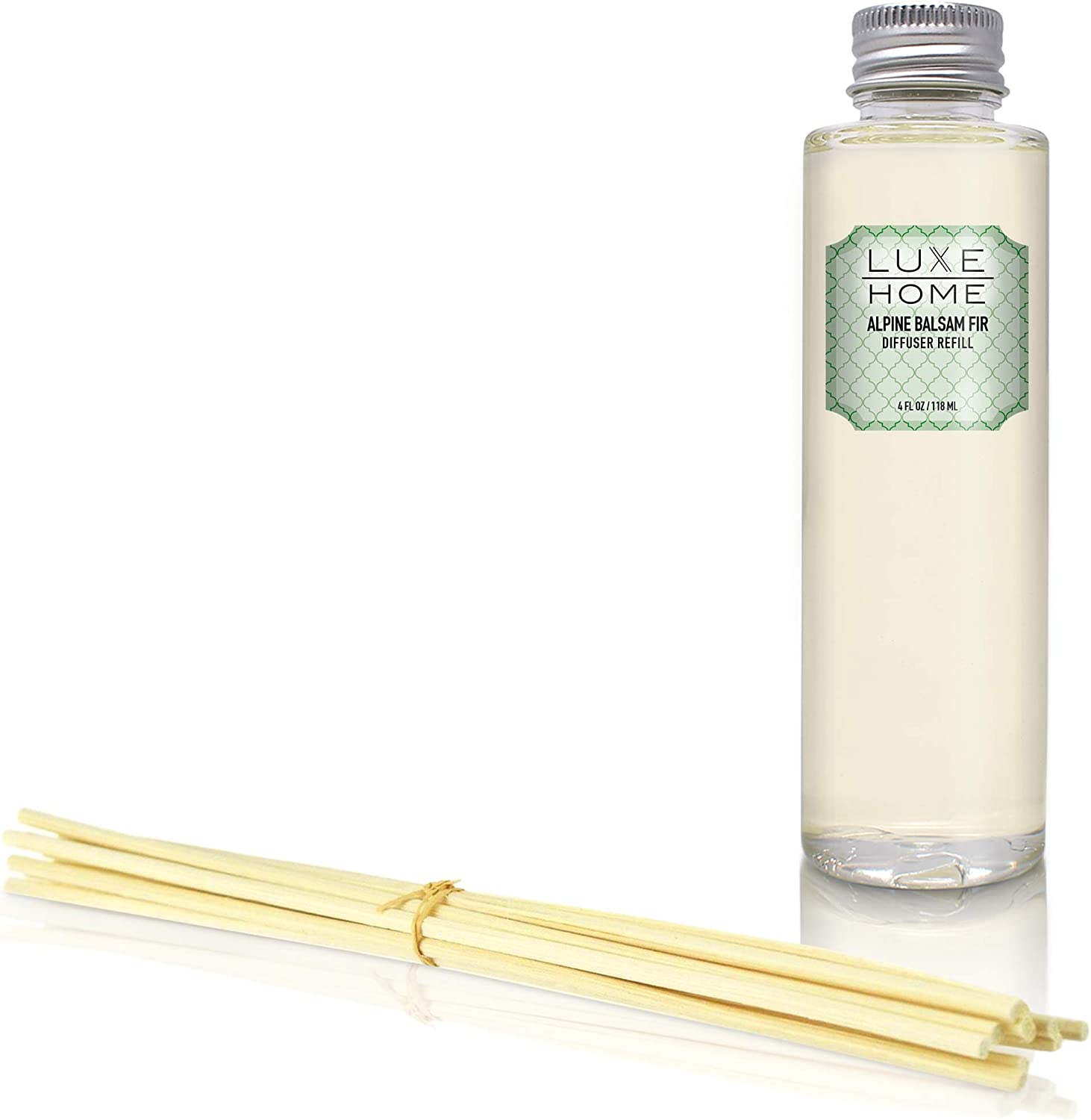 Luxe Home Alpine Balsam Fir Reed Diffuser Refill Oil with Sticks | Festive Scent with Evergreen, Pine & Woodsy Notes | Scented Replacement Oil for Room Diffuser & Reeds